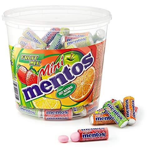 Mini Mentos Fruit Mix, Eimer mit 120 Rollen Kaubonbons, Box Frucht-Dragees, Geschmack Orange + Erbeere + Apfel + Zitrone