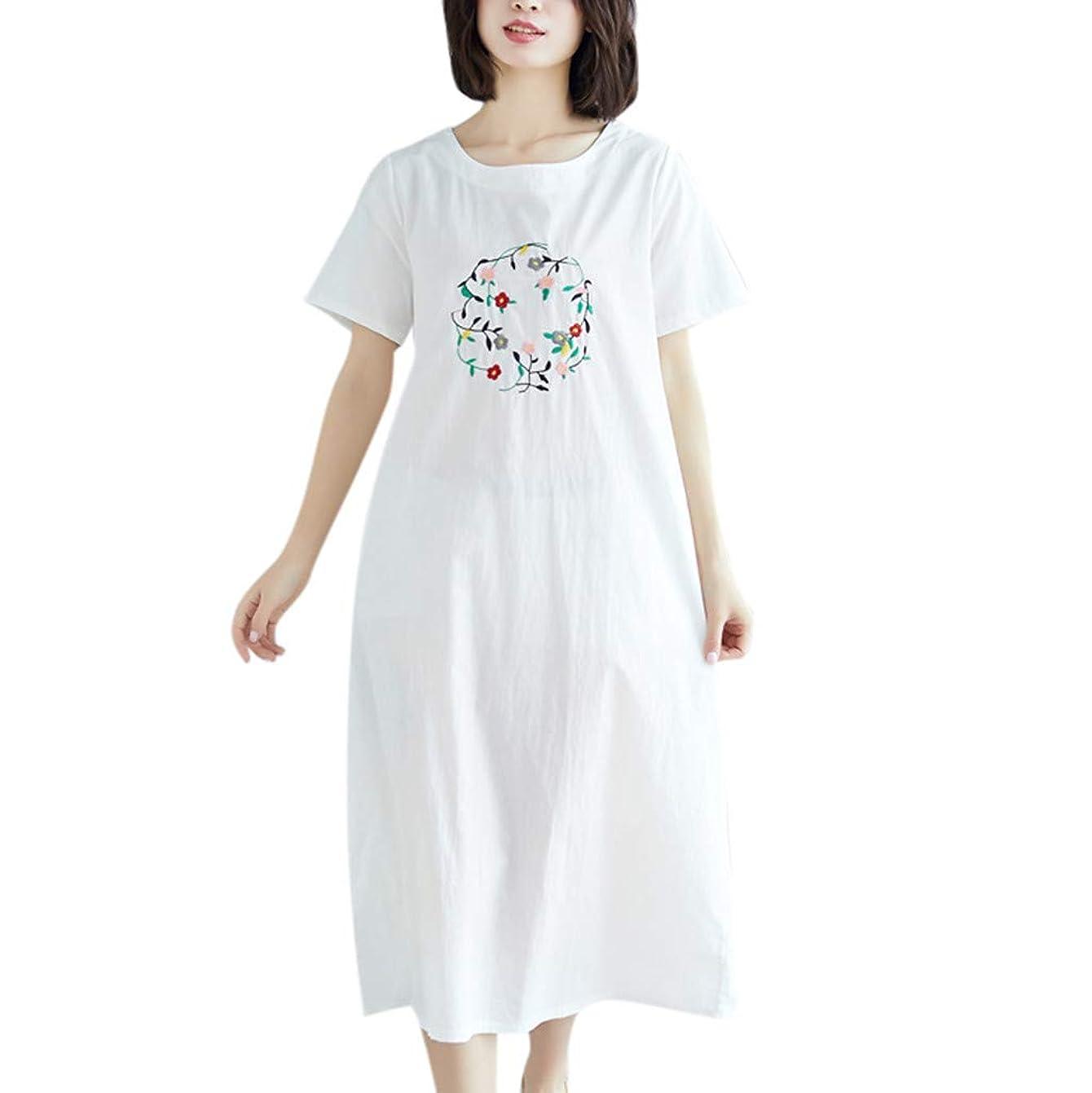 安全な誰が以下ワンピース レディース Rexzo 刺繍 ゆったり 綿麻ワンピース 純色 半袖 リネンワンピ ナチュラル カジュアル ワンピース シンプル 着やせ ドレス 優しい風合い 柔らかい スカート 日常 お出かけ 通学