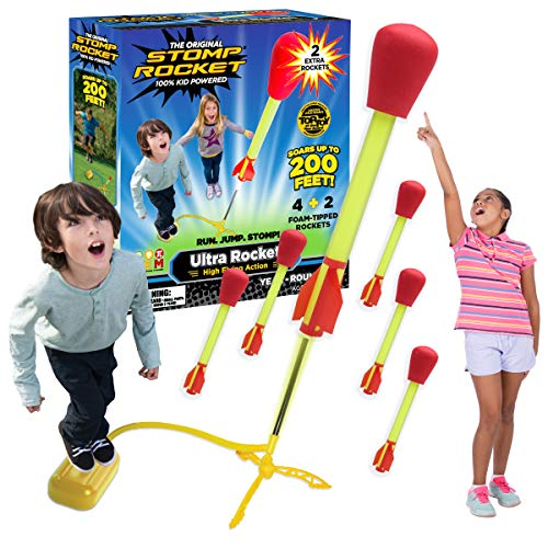Stomp Rocket Ultra Rocket with Ultra Rocket Refill Pack, 6 Rockets - Outdoor Rocket Toy Gift for Boys and Girls - Comes with Toy Rocket Launcher - Ages 5 Years Old and Up