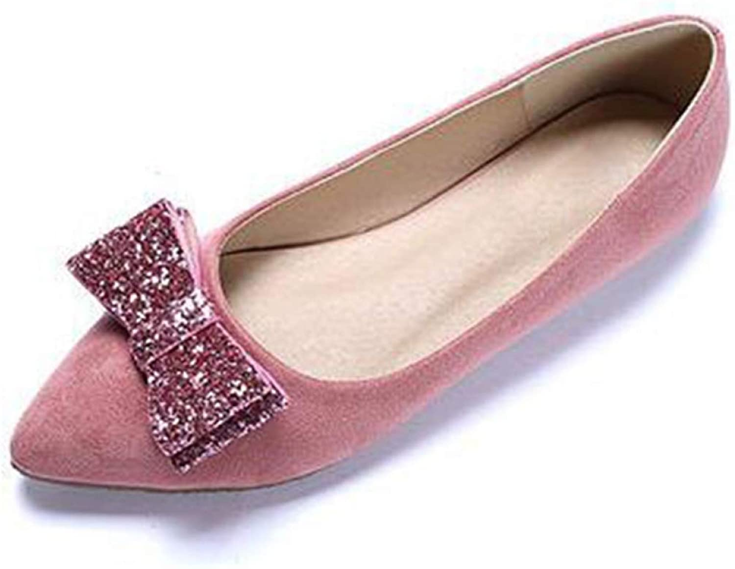 DETAIWIN Women Pointed Toe Pumps Loafers Flats Bow Wedding Party Slip On Fashion Glitter Ballet Dress shoes