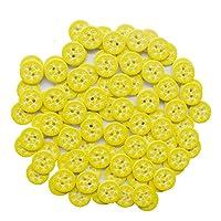12.5mm 雪の結晶模様 丸型樹脂製裁縫ボタン 2穴 クラフトボタン 洋服 裁縫 スクラップブック DIYクラフト用 (イエロー) 100個