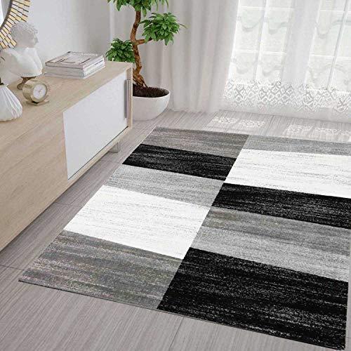 VIMODA Teppich Geometrisches Muster Meliert in Grau Weiß und Schwarz, Maße:60x110 cm