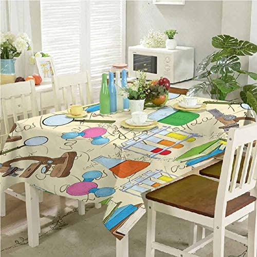 dsdsgog Table Cloth for Dinner Parties Science Education Lab Sketch Books Equation Loupe Microscope product image