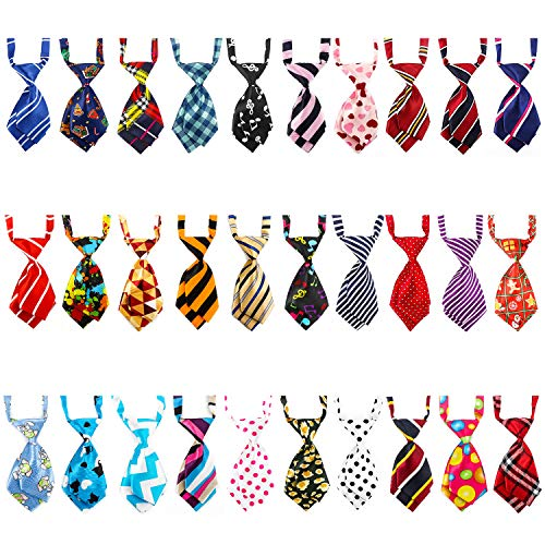 Segarty Ties for Dog, 30pcs Adjustable Pet Neck Ties Collar for Small Dogs Cats, Double Layered Puppy Bowties Necktie Bow Ties Grooming Bows for Wedding Valentine Photography Holiday Party Christmas