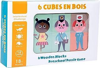 Dorakitten Kids Building Cube Wooden DIY Educational Building Toy Block Puzzle for Children Interactive Child