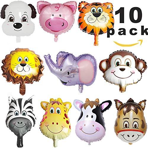 Folienballon Tiere,Luftballons Tiere,Dschungel Tierballons,Tierkopf Luftballons,Luftballons Tiere Kindergeburtstag - Helium ist Erlaubt, Perfekt für Kinder Geburtstag Party Dekoration (large size)
