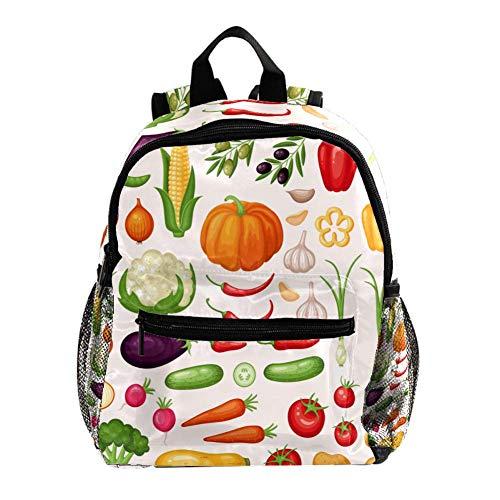 Vorschulrucksack für kleine Kinder, Kleinkinder, Rucksäcke für Jungen und Mädchen, mit Brustgurt, handgezeichneter Valentinstags-Hintergrund Icons Set aus frischem Bio Gemüse 25.4x10x30 CM/10x4x12 in