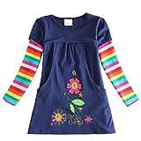 Vestido para niña de algodón, manga corta/larga, informal, estampado informal, 1-7 años H5802. 4-5 Años