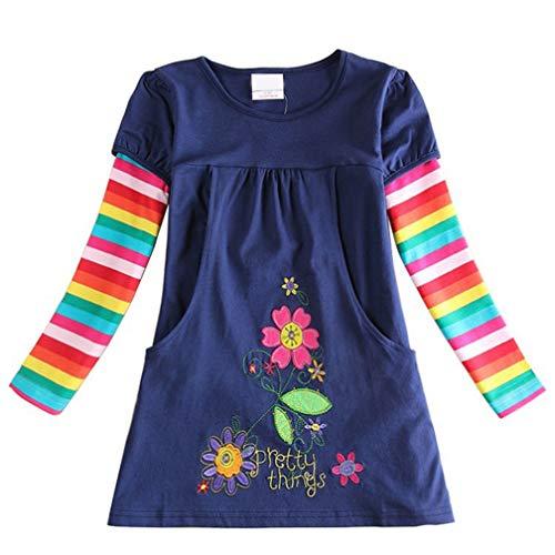 Vestido para niña de algodón, manga corta/larga, informal, estampado informal, 1-7 años...