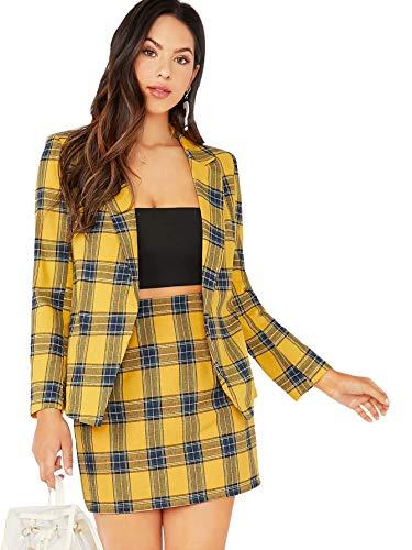 MakeMeChic Women's Two Piece Plaid Long Sleeve Blazer and Zipper Skirt Set Suit A Yellow S