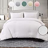 Seersucker Queen Comforter Set 3 PCs, All Season Reversible Down Alternative Quilted Duvet Insert, Hypoallergenic Microfiber Filling, Luxury Hotel Quality Bedding Sets in a Bag, Size 90 inch , White