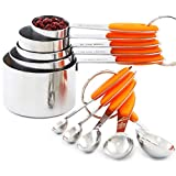 VOJACO 10 Piece Measuring Cups and Spoons Set, Stainless Steel Measuring Cups and Spoons with Silicone Handle, Metal Kitchen Tools and Gadgets for Cooking, Baking, Dry, Wet Food Measurement (Orange)