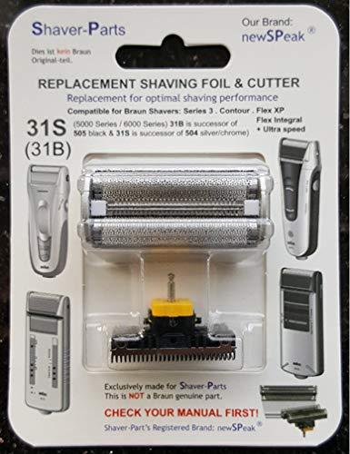 Reemplazo alternativo Braun - Cuchilla de afeitar eléctrica 31S (504 plata), compatible con Series 3 (5000/6000 Series)