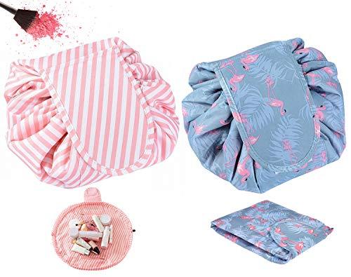GCOA 2 Pack Bolso de Cosméticos Bolsa de Almacenamiento de Maquillaje Perezoso de Viaje de Gran Capacidad Portátil e Impermeable Paquete rápido Bolsas de Aseo duales mágicas con Cremallera y Cordones
