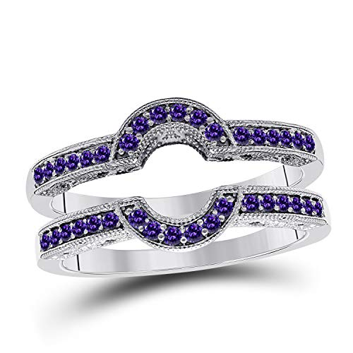 DS Jewels Womens 14K Gold Plated Alloy 0.30 ctw CZ Amethyst Round Oval Shaped Halo Style Wedding Band Millgrained Enhancer Guard Ring