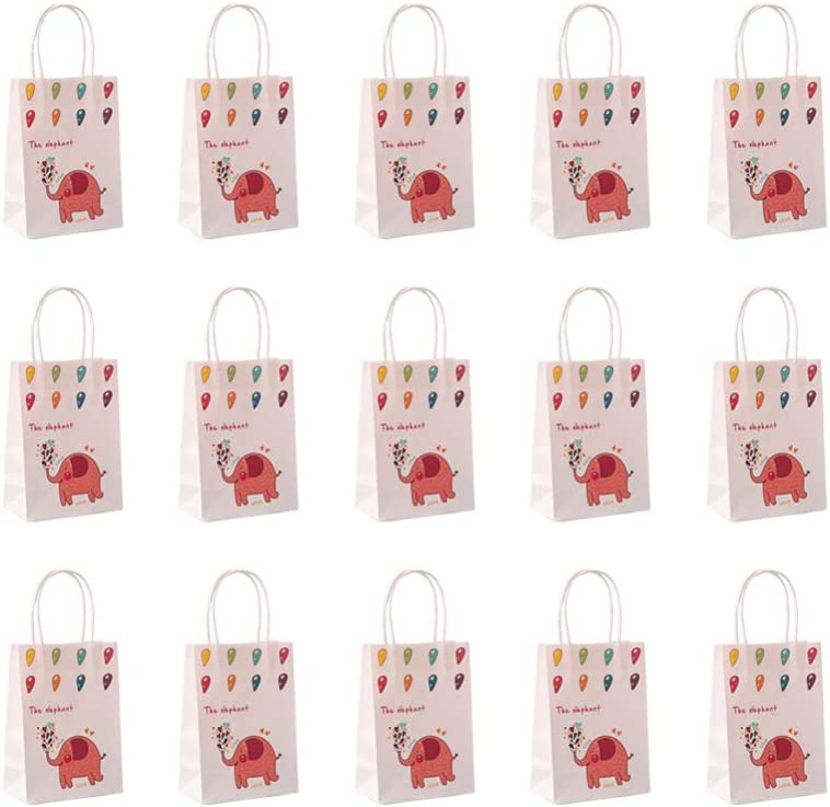 TOYANDONA 15pcs Kraft Paper Bag with Handle Elephant Printed Pap