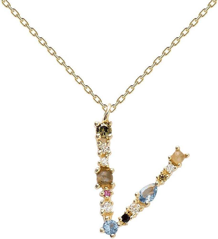 Pdpaola collana per donna lettera v - argento sterling 925 placcato in oro 18 carati CO01-117-U
