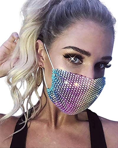 Bling Mesh Face Mask Sequin Rhinestone Masquerade Party Mask for Women (rainbow)