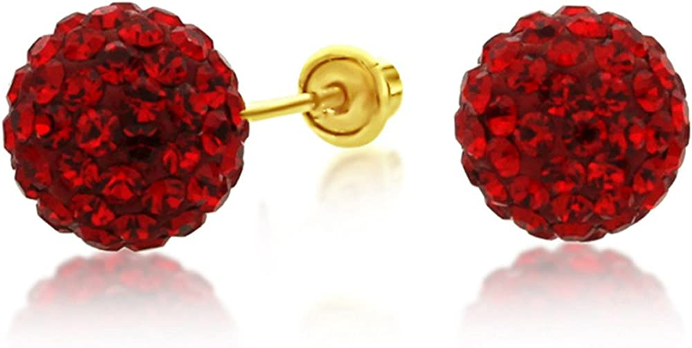 14K Yellow Gold Red Crystal Ball Stud Earrings Screwback (Available 6mm, 8mm)