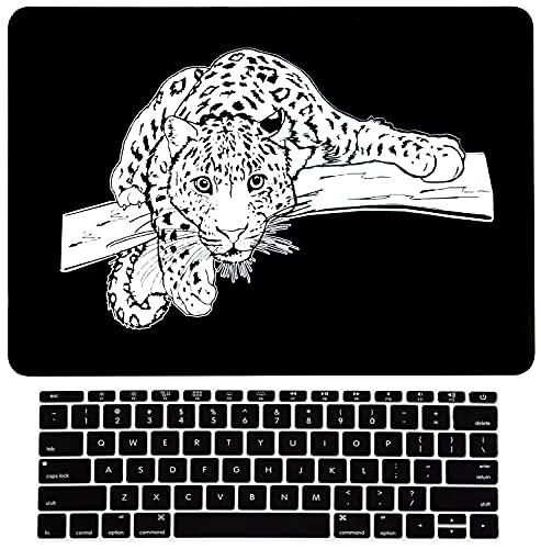 Black Leopard 3D Carve Funda rígida para portátil para Macbook Air de 13 Pulgadas A1932 Release 2018, Funda Protectora L2W Funda para Teclado para Mac Air de 13 Pulgadas, Leopardo esculpido