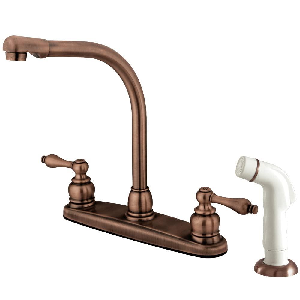 Amazon Com Kingston Brass Kb716al Victorian High Arch Kitchen Faucet With Sprayer Vintage Copper Home Improvement