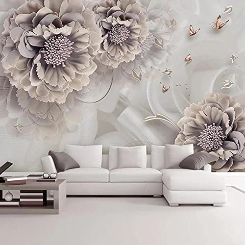 Papel pared fotográfico Fondo de pantalla 3D Peony Flower Mariposa Joyería Mural Sala de estar Sofá TV Fondo Pared,400X280CM(WxH)