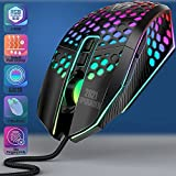 Gaming Mouse PC Gaming Mice - Honeycomb Mouse Gamer RGB Gamingmouse Wired Ergonomic 6 Levels up to 8000 DPI 7 Programmable Buttons 7 Backlight Modes for PC Laptop Mac Windows Vista Linux (Black)