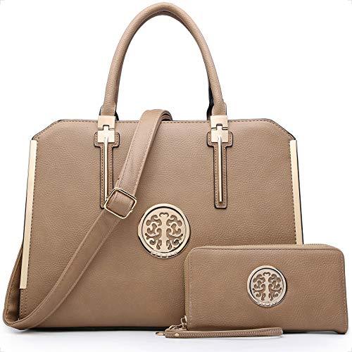 DASEIN Women Large Satchel Handbag Shoulder Purse Top handle Work Bag Tote With Matching Wallet (Dark Beige)