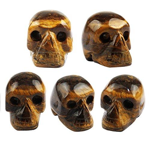 SUNYIK Tiger's Eye Stone Carving Skull Stone Pocket Statue Figurine Decor 1' Pack of 5