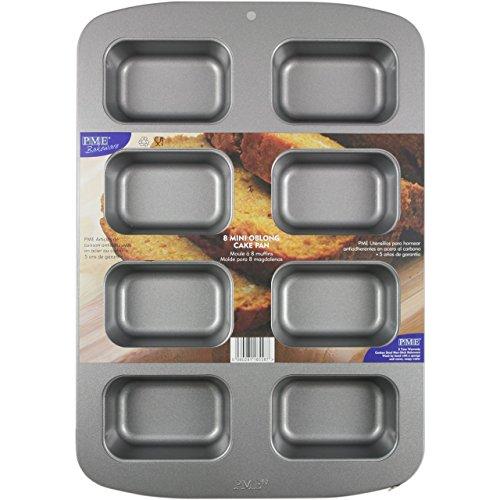 PME CSB107 antihaftbeschichtete 8 Mini längliche Kuchenform, Edelstahl, Silver, 37.3 x 26.1 x 3.6 cm