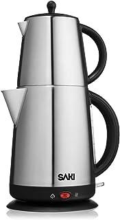چای سازنده ساکی ساکی - 1.7 لیتر ، 110 ولت کتری برقی با قوری چای تزریق کننده ، کنترل ترموستات آب گرم کن ، حالت گرم نگه داشتن ، استیل ضدزنگ ، محافظت از گرمای بیش از حد جوش - 2 در 1 دیگ چای دیگ چای