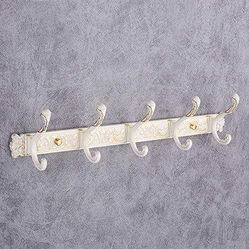 LKJJTG Metalen kapstok Rek Muur Gemonteerd met 5 haken, Heavy Duty, Vintage, Decoratieve Gift Idee, Huishoudelijke Multifunctionele Haak, Ivoor Wit