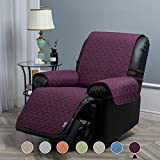 STONECREST Recliner Slipcover Waterproof, Reversible Washable Cover, Furniture Protector for Pets, Kids, Seat Width Up to 25 Inches with Straps (Plum/Grey, 25' Recliner)