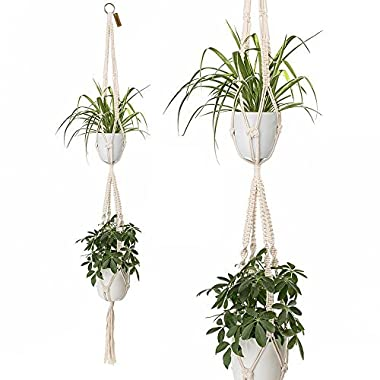 2 Tier Macrame Plant Hanger by TimeYard - Handmade Indoor Hanging Planter Pot Holder - Modern Boho Home Decor
