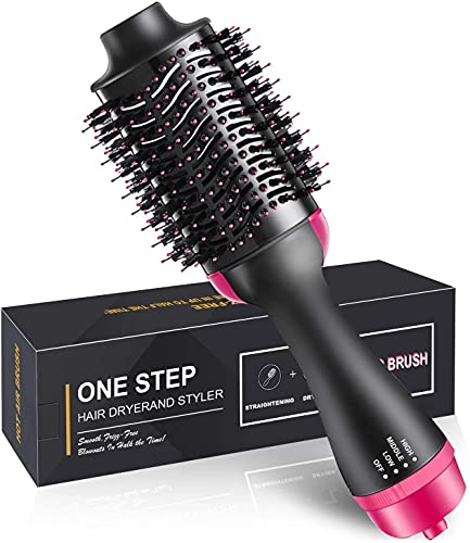 Twonzilla Multipurpose One Step Hot Air Brush - One Step Hair Dryer Brush,6.6ft Cable 3-in-1 Salon Negative Straighten Electric Blow Dryer, New Feature Anti-scald Reduce Frizz and Static Styling Tools, One Step Hair Dryer and Volumizer/Hot Air Brush / 3 in1 Styling Brush Styler/Negative Ion Hair Straightener Curler Brush for All Hairstyle