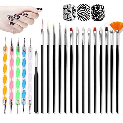 Hanyousheng Acryl Pinsel für Nägel, Nagelpinsel für Gel, Nagelpinsel,Nail Art Pinsel Nail Art Design Malerei Detaillierung Pinsel & Dotting Tool Kit Set,15 Bürste + 5 Dotting Pen Nail Art Pinsel