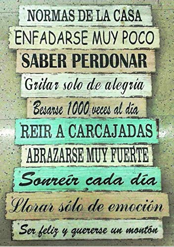 DCine Cuadro Frases/Frases positivas/Cuadro Madera/Regalo/Normas del hogar/Normas de la casa/Carteles Vintage/ 19 cm x 25 cm x 4 mm/ (PEQUEÑOS Momentos)
