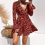 NOBRAND Vestido De Leopardo Vestido Corto De Playa Vintage para Mujer Vestido Suelto De Manga Larga con Cuello En V Profundo Vestido De Fiesta XXXL Rojo