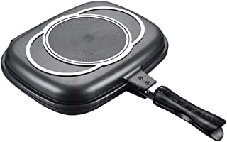 Jnvny Double Sided Grill Pan Portable Durable for Grilling Frying Home Kitchen Camping