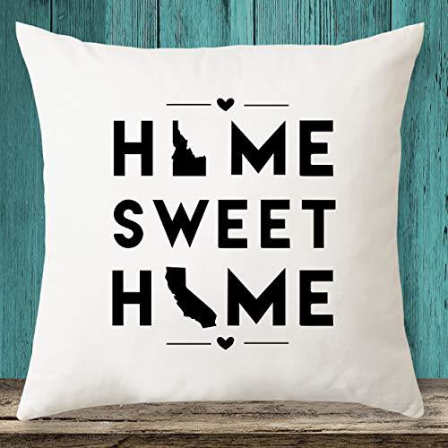 Idaho & California Home Sweet Home State Maps - Funda de almohada, diseño de mapas