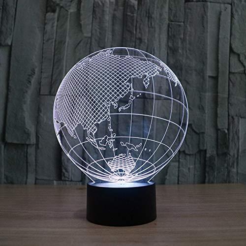 HHANN 3D Asie De La Terre Led Lampe D'Illusion Optique Lampe Lumière De Nuit Avec Câble Usb Et 16 Couleurs Décoration Pour Enfant Chambre Chevet Table De Bébé Cadeau De Fête Anniversaire