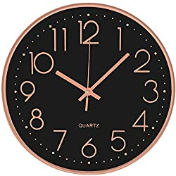 DORBOKER Wall Clock - 12 Inch Modern Wall Clocks Battery Operated Silent Non Ticking Digital Easy to Read Wall Clocks for Living Room Decor Home Kitchen School Office (Black Rose)