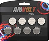 8 Pack AmVolt CR2025 Battery 3 Volt Lithium Battery Coin Button Cell (Expires 2025)
