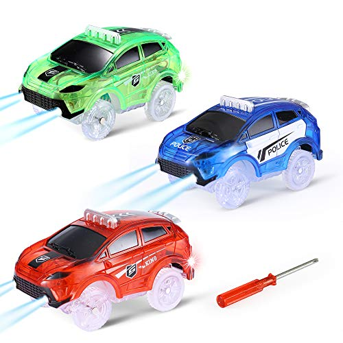 Track Cars for Kids, 3 Pack Light up Track Replacemnet Toy Cars, Cars Compatible with Magic Tracks Glow in The Dark, Toy Cars with 5 Flashing LED Lights for Most Race Tracks Cars Car Accessories