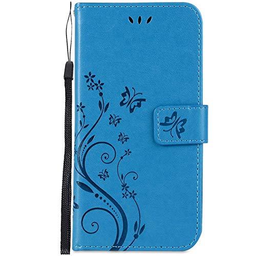 Herbests Kompatibel mit Huawei P20 Lite Handyhülle Handytasche Leder Hülle Schmetterling Blumen Muster Retro Vintage Ultra Dünn Ledertasche Book Case Klapphülle Flip Case Cover,Blau