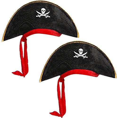COM-FOUR® 2 piratenhoeden voor kinderen met geïntegreerde rode hoofddoek voor themafeesten of andere feesten (02 stuks - 2 personen)