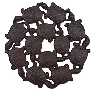 """Import Wholesales Baby Turtles Decorative Stepping Stone Rust Brown Cast Iron 10.25"""" Wide Flagstone"""