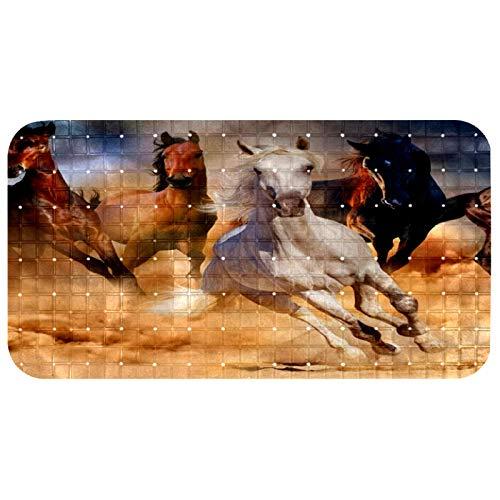 CHINFY Alfombra antideslizante para bañera de caballo, alfombra de baño de PVC, con ventosas, orificio de drenaje, 37,3 x 68,3 cm