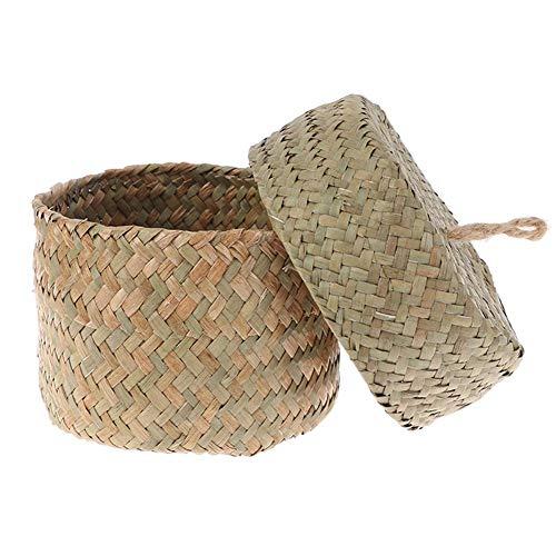Berrywho Handmade Straw Storage Basket Woven Basket Wicker Rattan Planter Pot Flower Storage Container for Garden Wedding Decoration Natural Color