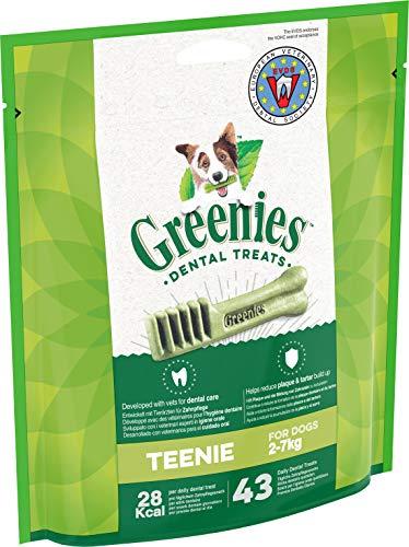 Greenies Dental Treats Original Teenie – 43 Zahnpflegesnacks für sehr kleine Hunde von 2-7 kg – Hundeleckerli zur täglichen Zahnreinigung – 1 x 340 g